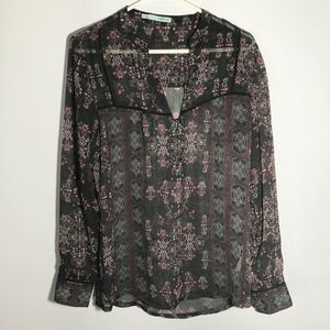 EUC Maurices charcoal floral sheer size M